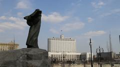 Monument Shevchenko and Russian Government House - stock photo
