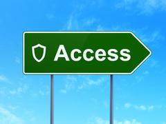 Privacy concept: Access and Contoured Shield on road sign background - stock illustration