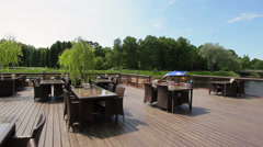 Tables of restaurant in open air Stock Footage