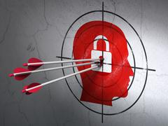 Business concept: arrows in Head With Padlock target on wall background Stock Illustration