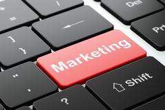 Advertising concept: Marketing on computer keyboard background Stock Illustration