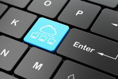 Cloud networking concept: Cloud Network on computer keyboard background Stock Illustration