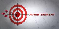 Advertising concept: target and Advertisement on wall background Stock Illustration