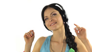 Stock Video Footage of Beautiful Woman Listening Music and dancing Close-up