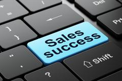 Stock Illustration of Marketing concept: Sales Success on computer keyboard background