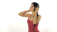 Stock Video Footage of Music. Woman dancing with headphones listening to music on mp3 player
