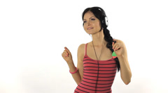 Music. Woman dancing with headphones listening to music on mp3 player Stock Footage