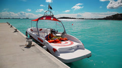 Boat at the pier of Caribbean island of San Martin waiting for tourists Stock Footage