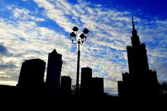 warsaw city center with palace of culture and science, the tallest building i - stock photo