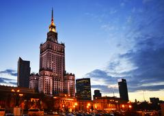 Warsaw city center with palace of culture and science, the tallest building i Kuvituskuvat