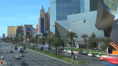Timelapse traffic car street Las Vegas strip aerial view famous Mandalay Bay USA Stock Footage