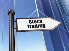 Business concept: sign Stock Trading on Building background - stock illustration