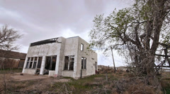 Abandoned Gas Station Western Route 66 Ghost Town - stock footage