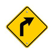 Stock Illustration of sign of road curved ahead . part of a series.