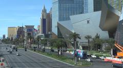 Traffic car street Las Vegas strip Mandalay Bay Luxor NYC New York city sin USA Stock Footage