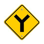 Stock Illustration of y fork junction sign , part of a series.