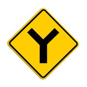 y fork junction sign , part of a series. - stock illustration