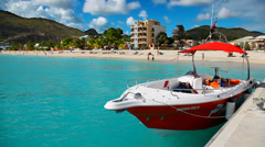 Boat at the pier of Caribbean island of San Martin Stock Footage