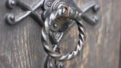 Old Church Iron Door Knocker Stock Footage