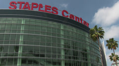 Staples Center Exterior Low Angle Stock Footage