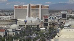 Aerial view panorama Caesar Palace Mirage traffic car street sunny day Las Vegas Stock Footage