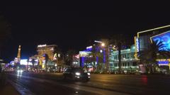 Fabulous city sin Las Vegas traffic street avenue night boulevard resort hotel  Stock Footage
