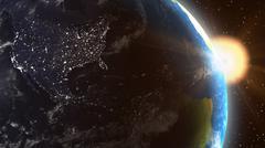 Kasvien Maan Yhdysvallat Sunrise From Space Piirros
