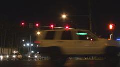 Traffic car street limousine pass traveler commute Las Vegas sign road transport Stock Footage