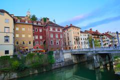 Medieval Ljubljana, capital of Slovenia, Europe. - stock photo