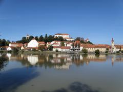 Ptuj city skyline in eastern Slovenia on the Drava River Stock Photos