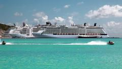 Cruise ships and jet ski on Caribbean island - stock footage