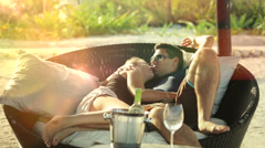 Newlyweds in honeymoon Stock Footage