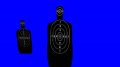 Shooting Range Targets on a Blue Screen Background Stock Footage