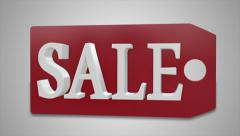 RED TAG SALE - 3-D CGI Text Animation in 4K Resolution Stock Footage