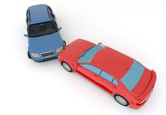 cars in an accident - stock illustration