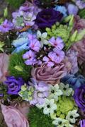 blue and purple wedding arrangement - stock photo