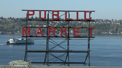 Pike Place Market aka Farmer's Market in Seattle Stock Footage