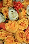 Yellow and white rose wedding arrangement Stock Photos
