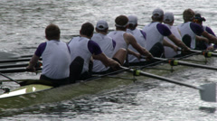 Rowers Rowing a Shell In a Regatta Stock Footage
