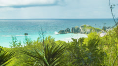 Looking Out Onto Popular Horseshoe Bay, Bermuda - stock footage