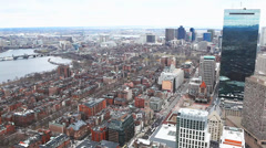 An open aerial view of the city of Boston, Massachusetts - stock footage