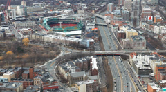 A large aerial of the city of Boston, Massachusetts with Fenway in background - stock footage