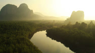Stock Video Footage of Aerial View: Krabi river. Mangrove forest in Krabi province, Thailand.