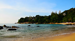 Panorama of tropical beach on a background of waves Stock Footage