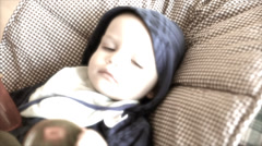 Toddler with the flu lying on the floor Stock Footage