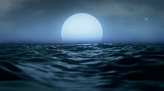 Moonrise sea strong waves cloudy sky - 1080p Stock Footage