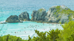Overlooking Bermuda's Horseshoe Bay - stock footage