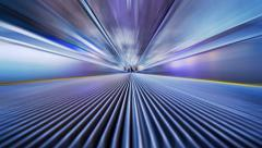 Futuristic industrial tunnel zoom, blurred motion abstract background Stock Footage