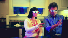 Couple amazed 3d content excitement 2 Stock Footage