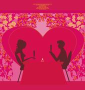Stock Illustration of young couple silhouettes flirt and drink champagne in restaurant - card